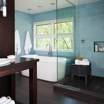 Blue Glass Shower Surround Contemporary Bathroom Bhg Blue Bathroom Wood Tile Bathroom Turquoise Bathroom