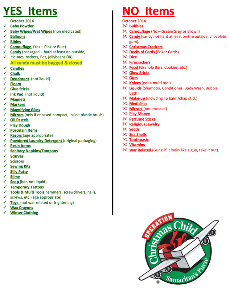 this operation christmas child packing list appears to be for canada or some other country several items are allowed be sent from the us including