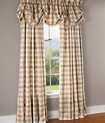 Moire Plaid Rod Pocket Curtains In Natural From Country Curtains Country Curtains Curtains Curtains Living Room