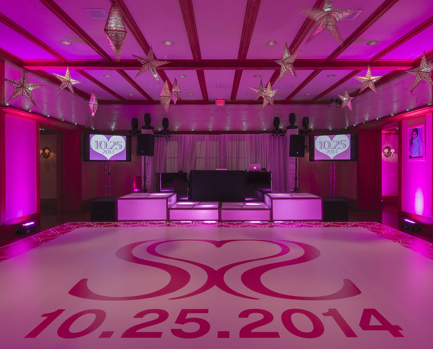 Custom Dance Floor For A Pink Heart Themed Bat Mitzvah In New York Lighting Design Included All Around Led Blocks At The Dj Booth And Hanging