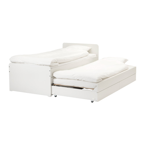 Ikea Bed Uitschuifbaar.Slakt Bed Frame W Pull Out Bed Storage White Twins
