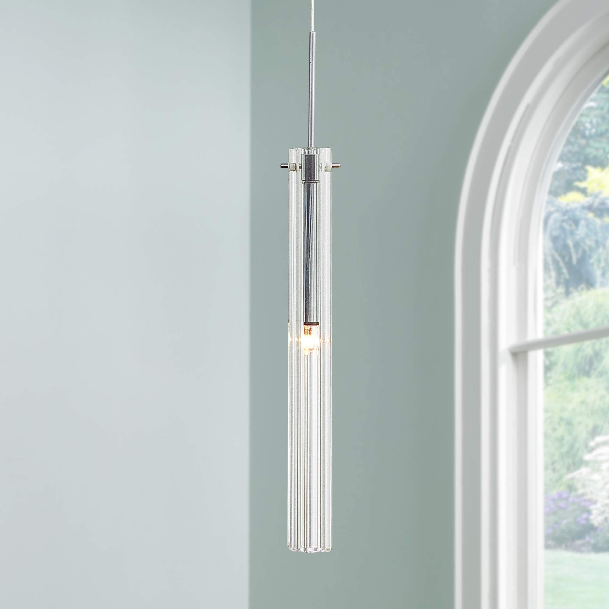 Possini Euro Design Clear Glass Tube Mini Pendant Light - Style ...