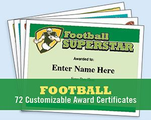 Football certificate templates certificate football banquet and football certificates templates enabling you to customize each stylish certificate with a players name your yelopaper Gallery
