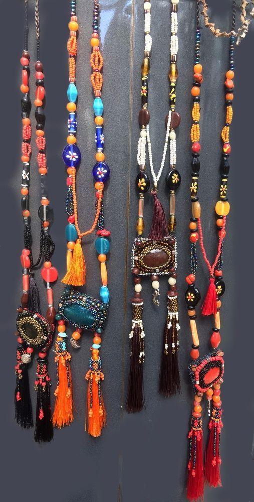 STATEMENT Long Large Big MULTI COLOURED Multi Strand BEADED Necklace FESTIVAL uk