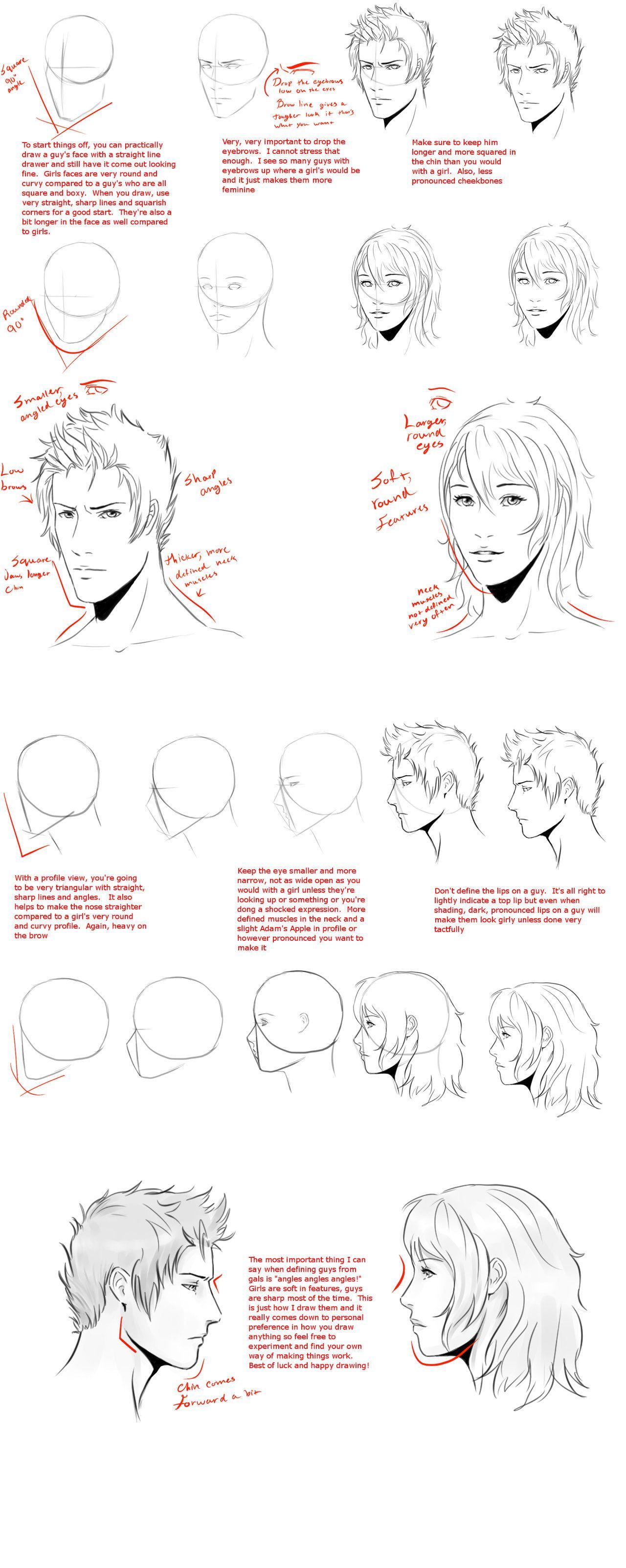 Male Vs Female Head Face Tut By Wingedgenesis5 On