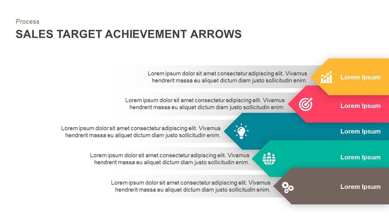 Sales Target Achievement Arrows Powerpoint Template And Keynote Slide Sales Target Achievement Arrows Powerpoint Te Powerpoint Templates Powerpoint Achievement