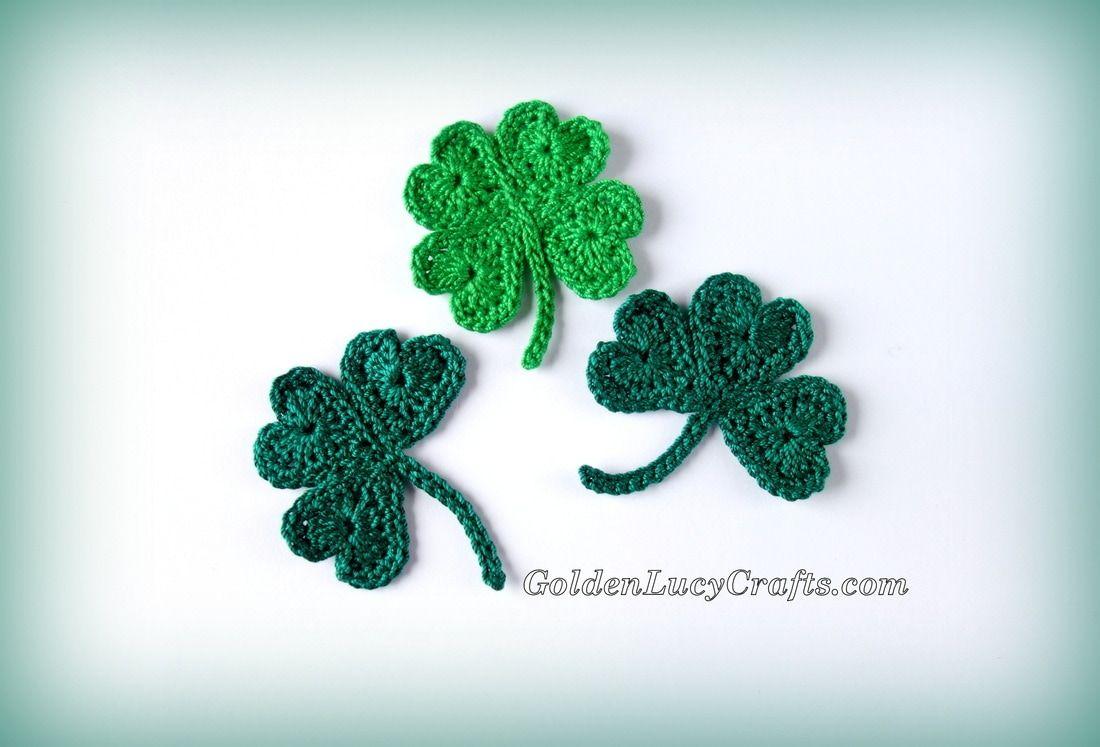 Crochet St Patrick\'s Day Shamrock and Lucky Clover Appliqués Free ...