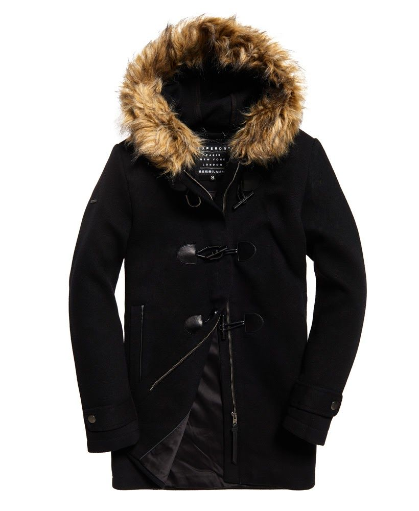 Superdry Brooklyn Duffle Coat Black | Duffle coat, Jackets