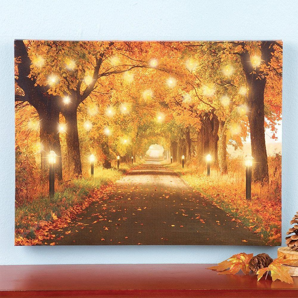 Fall Wall Art autumn lighted hanging canvas fall wall art home decoration path