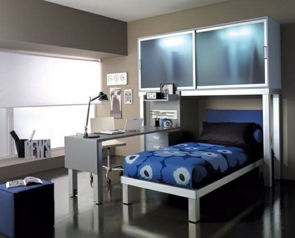 chambre ado de garon en bleu gris et blanc