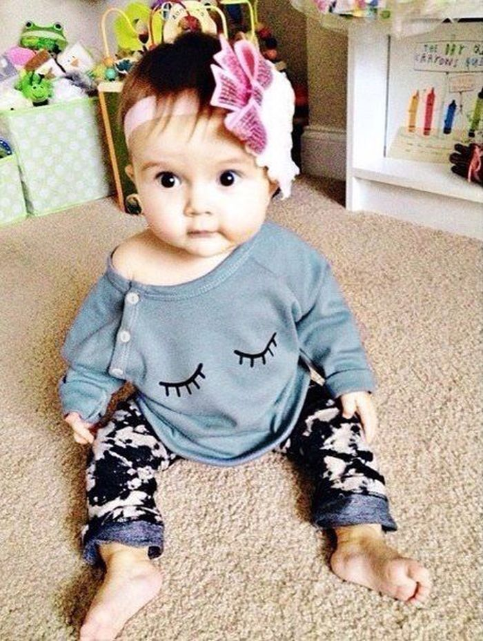 Kid Child Baby Girl Tops Infant Lovely Eyelashes Cotton Outfits Clothing T-shirt