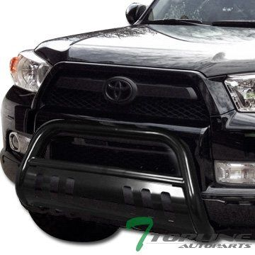 Topline Autopart Polished Stainless Steel Bull Bar Brush Push Front Bumper Grill Grille Guard With Skid Plate For 11-17 Toyota Sienna