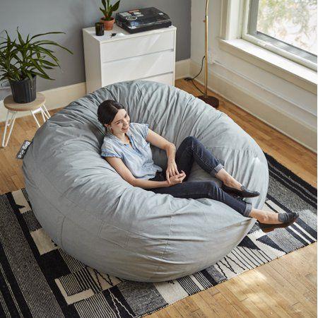 Outstanding Big Joe Fuf 6 Round Bean Bag Chair Multiple Colors Gray Machost Co Dining Chair Design Ideas Machostcouk