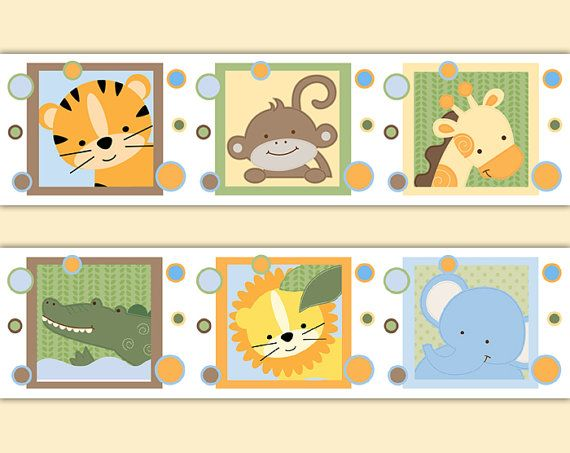 SAFARI NURSERY DECOR Decal Wallpaper Border Jungle Animal