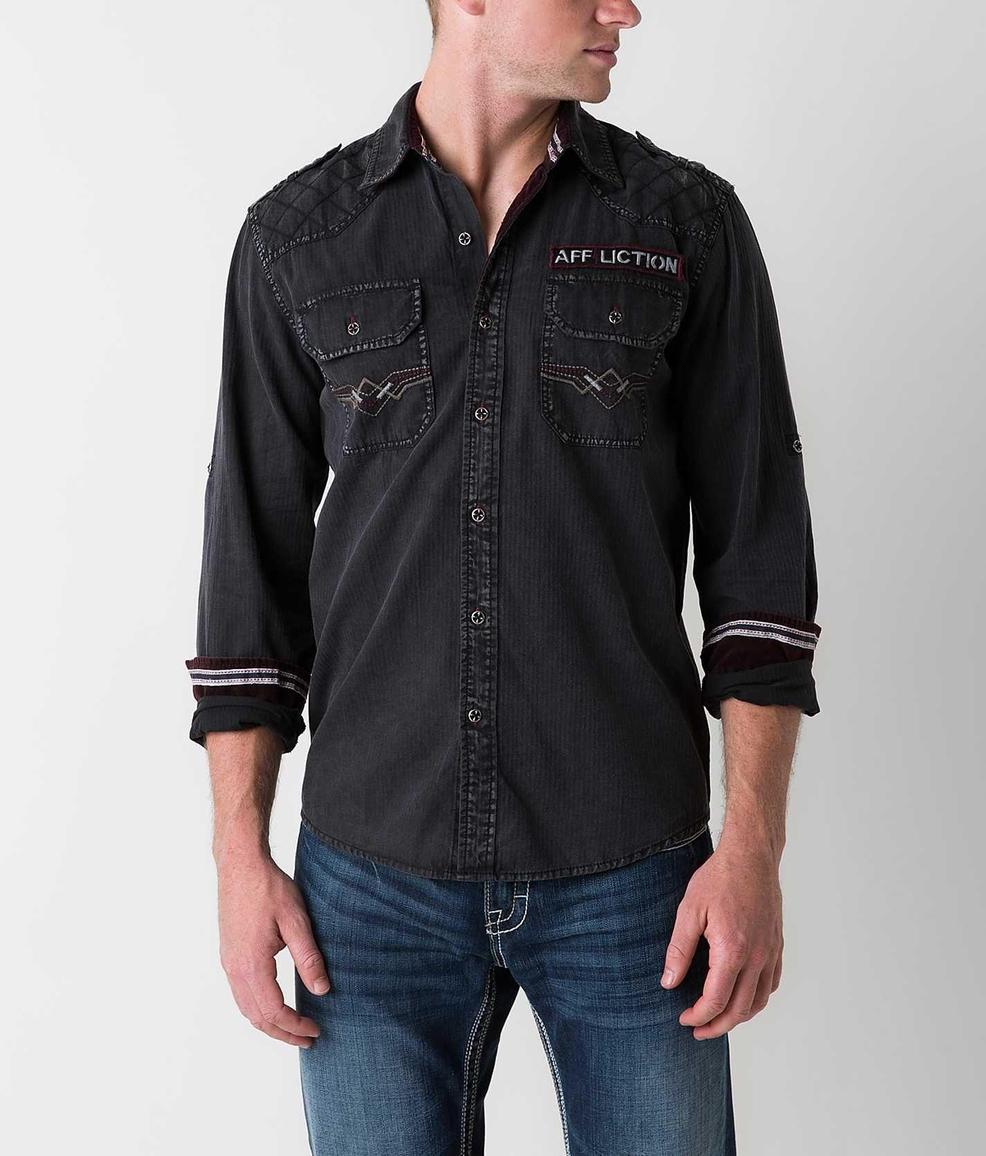"""Affliction Black Premium """"Leather"""" Coat Leather coat"""