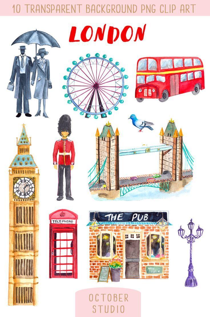 Farewell Card London Watercolor Clip Art Illustration  Scrapbooking Greeting Card