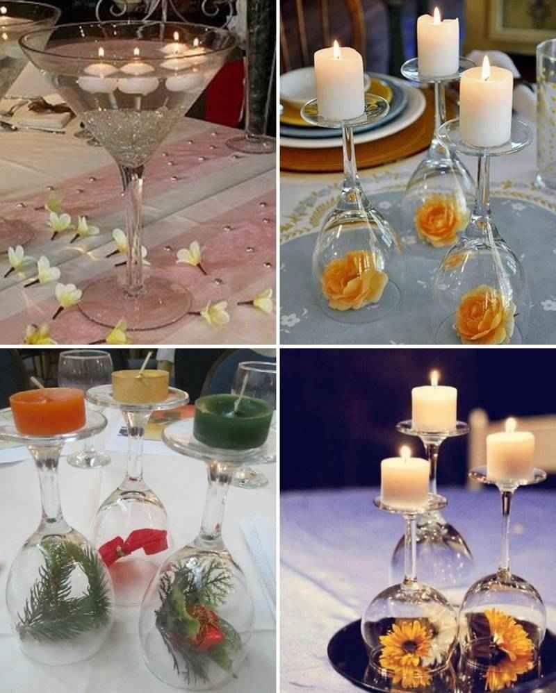 Centros de mesa con copas 3 tile adornos pinterest - Centros de mesa con copas ...