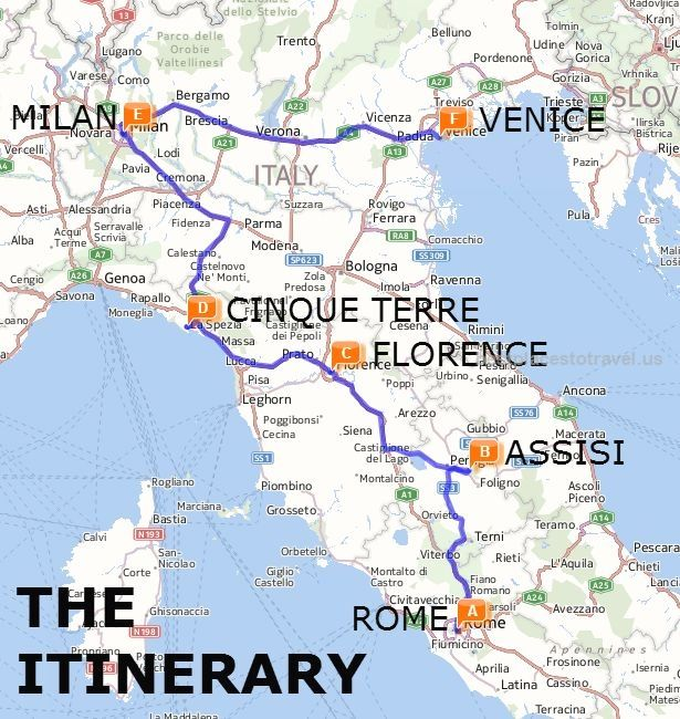 The Best Of Italy By Train A Two Week Itinerary Map Italy