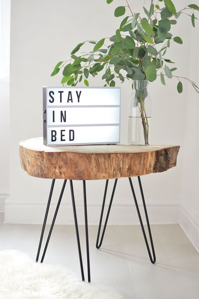 DIY tree slice hairpin table