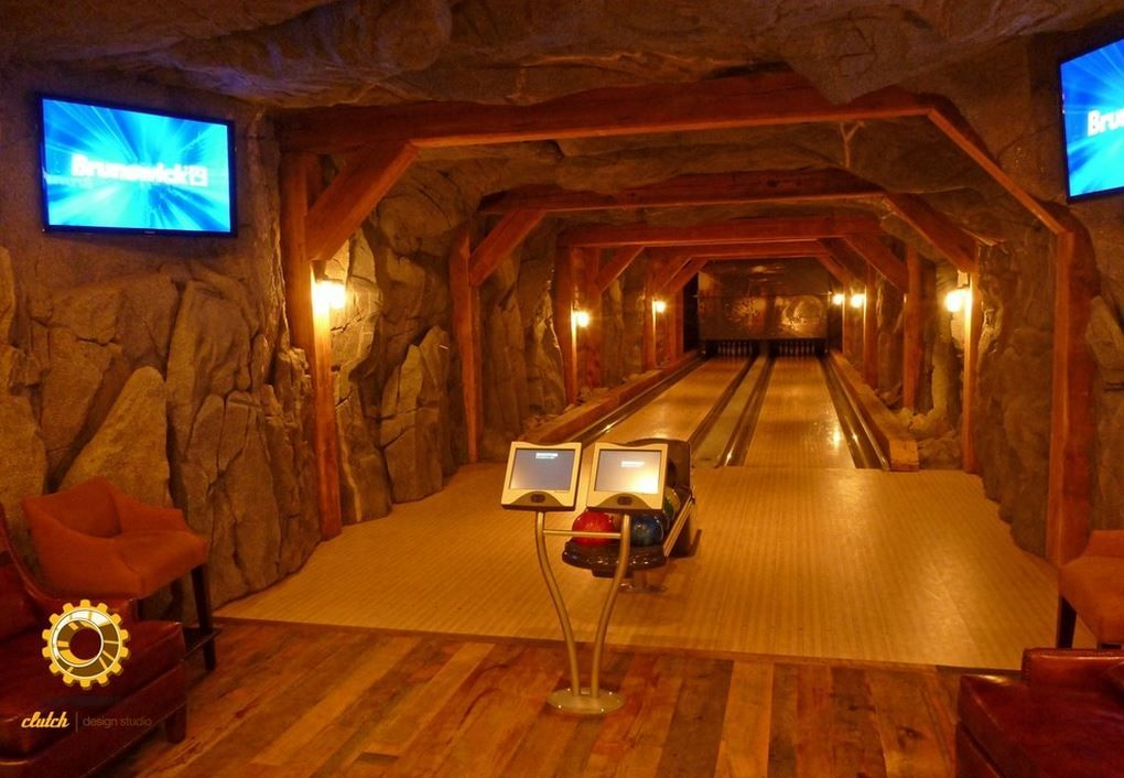 residential bowling alley in basementclutch design studio