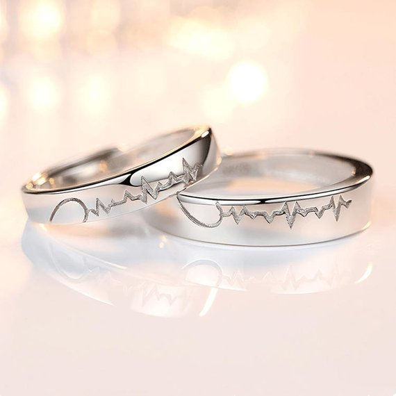 His And Hers Heart Beat Matching Rings Men Women Heart Silver