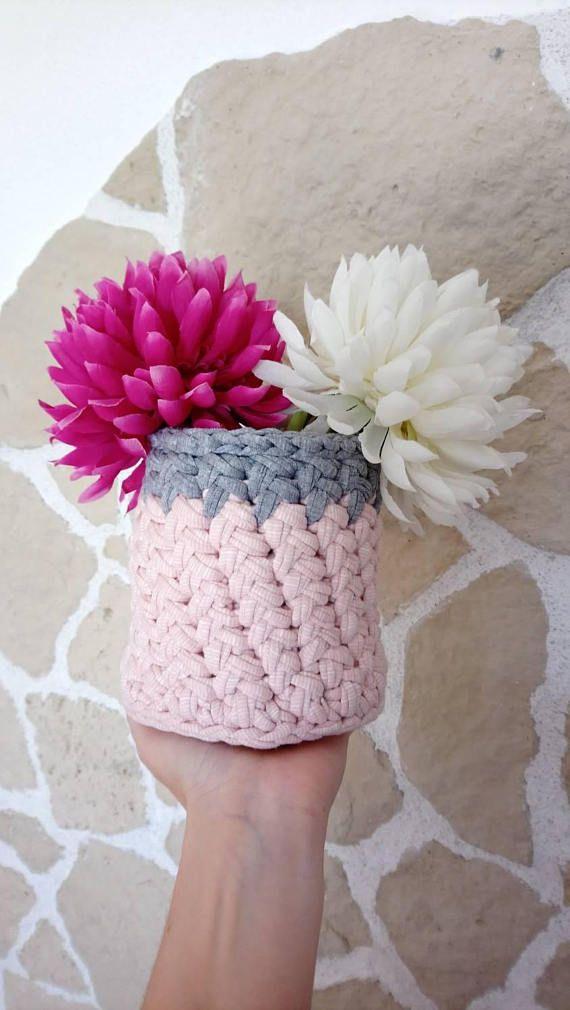 Pot maquillage textile rose et gris cache pot ou pot - Ustensiles salle de bain ...