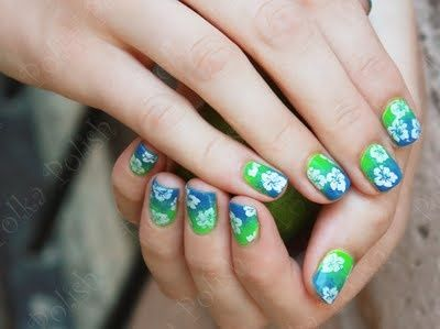 hawaiian / tiki nail art