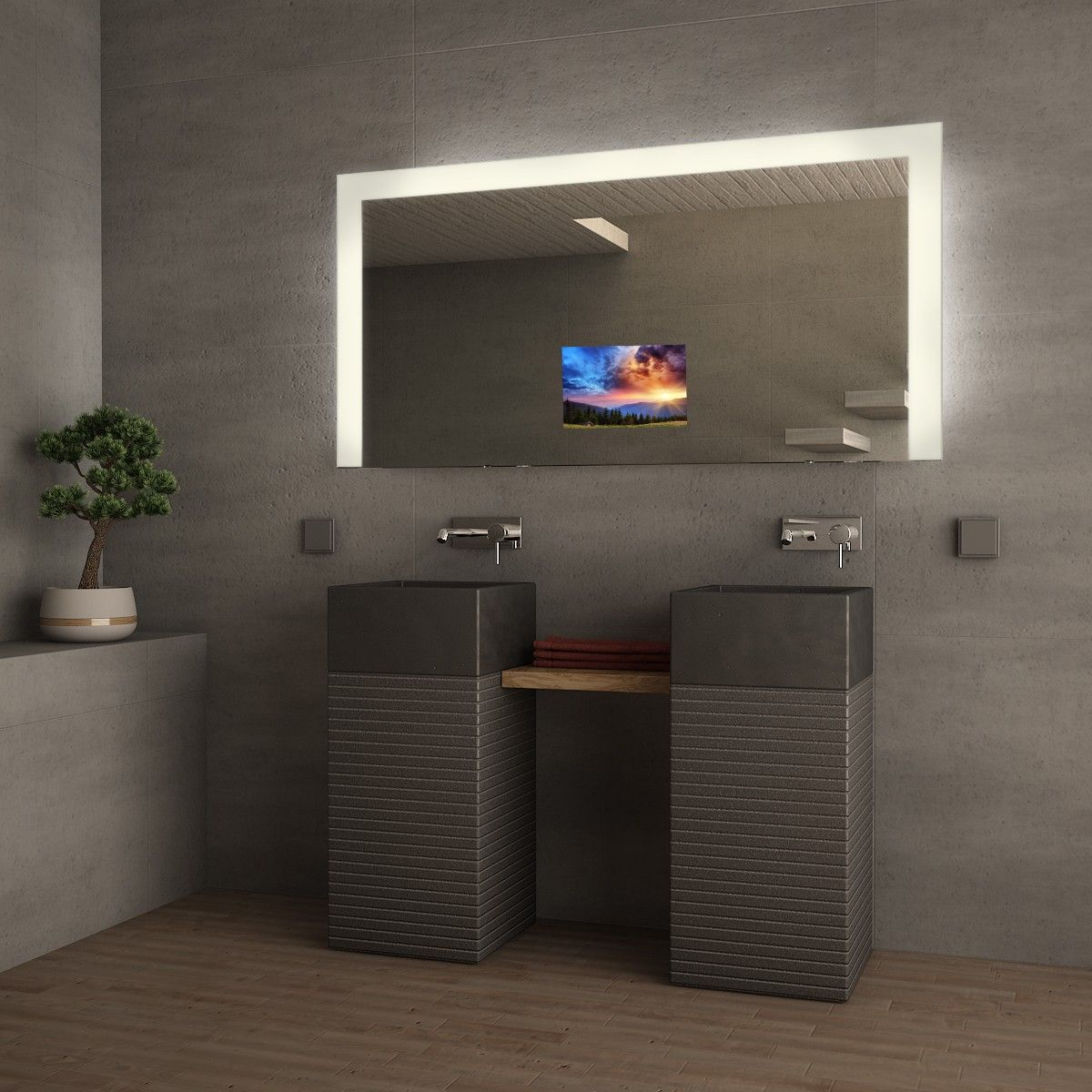 Tv Spiegel Alegra Badspiegel Beleuchtet Badezimmer Design