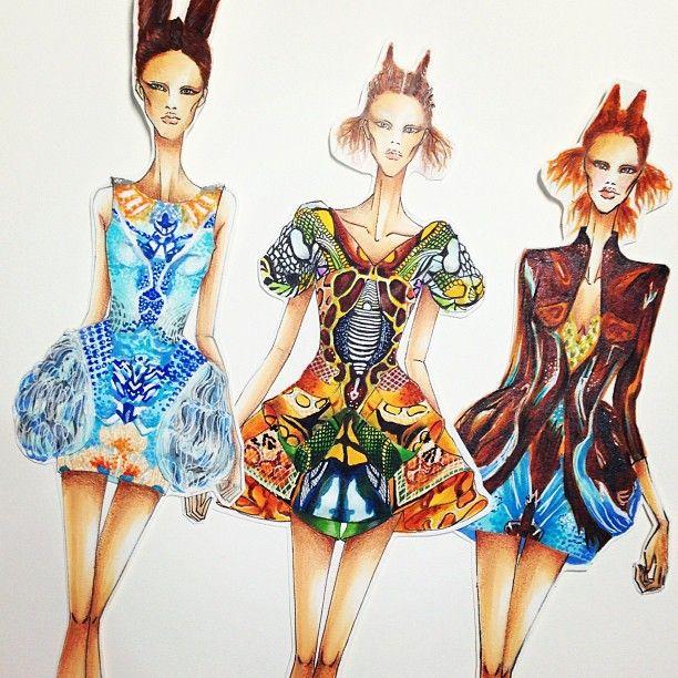 Instagram media by ms.shangrila - finally done 3 fashion illustration from Plato's Atlantis Spring/Summer 2010 by Alexander mcqueen