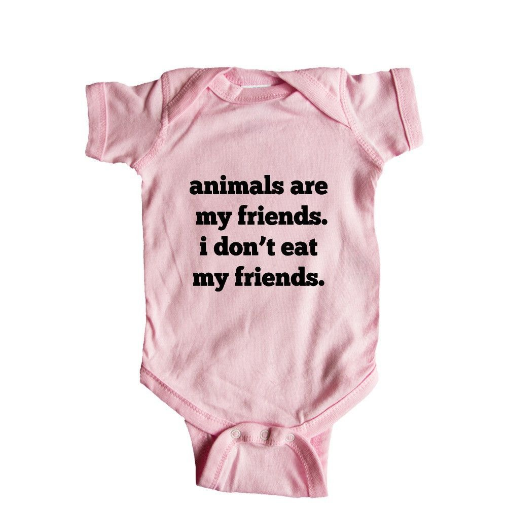18b933415 Animals Are My Friends I Don't Eat My Friends Animal Lover Vegetarian  Vegetarians Vegans Food Hungry SGAL8 Baby Onesie / Tee