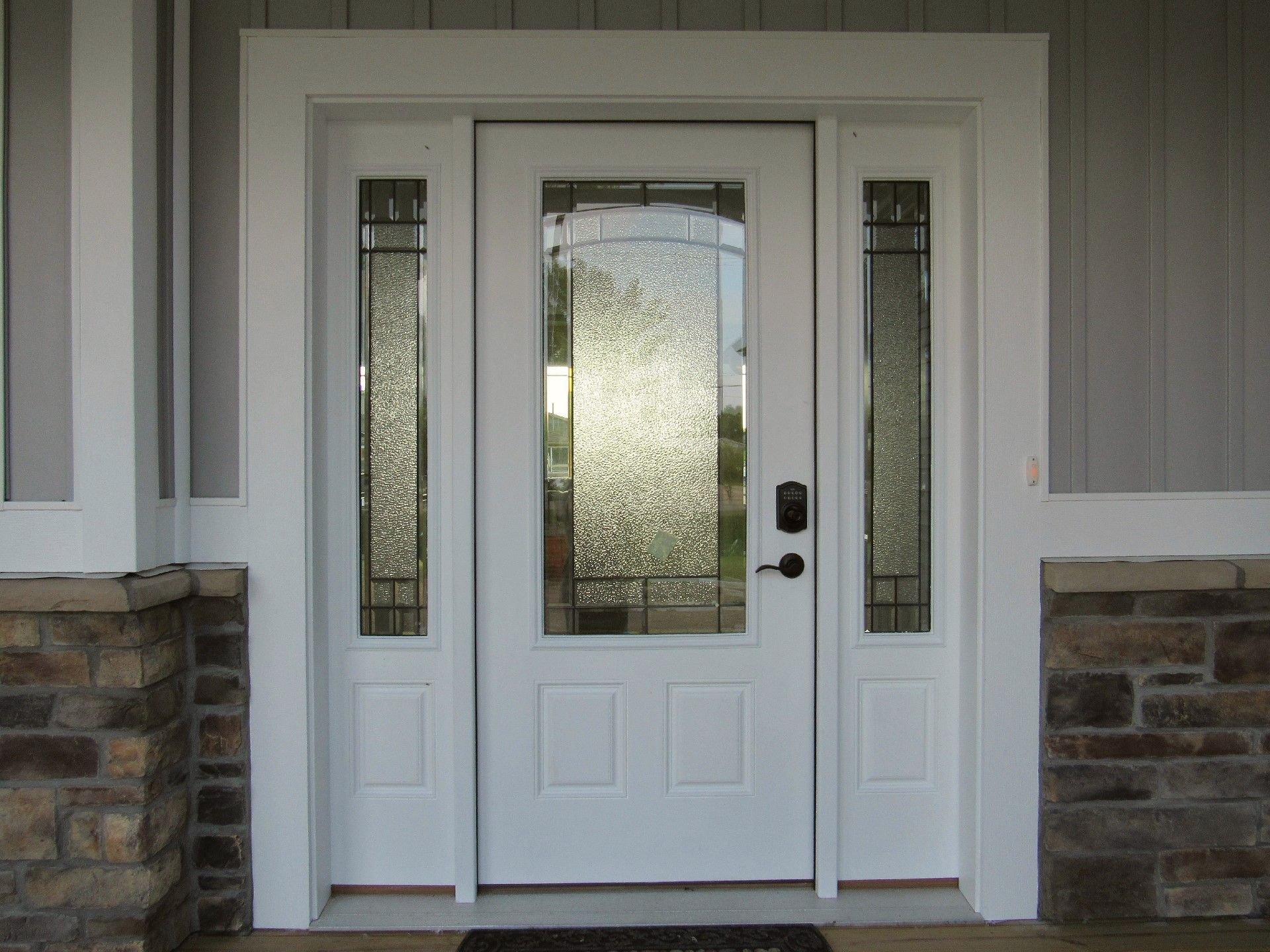 Beatiful White Exterior Door With Decorative Windows Oil Rubbed Bronze Lock Set Paired With The Stark White Modular Home Builders Home Builders Modular Homes