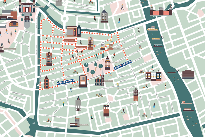 Illustrations showing different neighborhoods and sightseeings in Amsterdam and the Hague, for Hello Amsterdam and Hello the Hague magazines. 2015