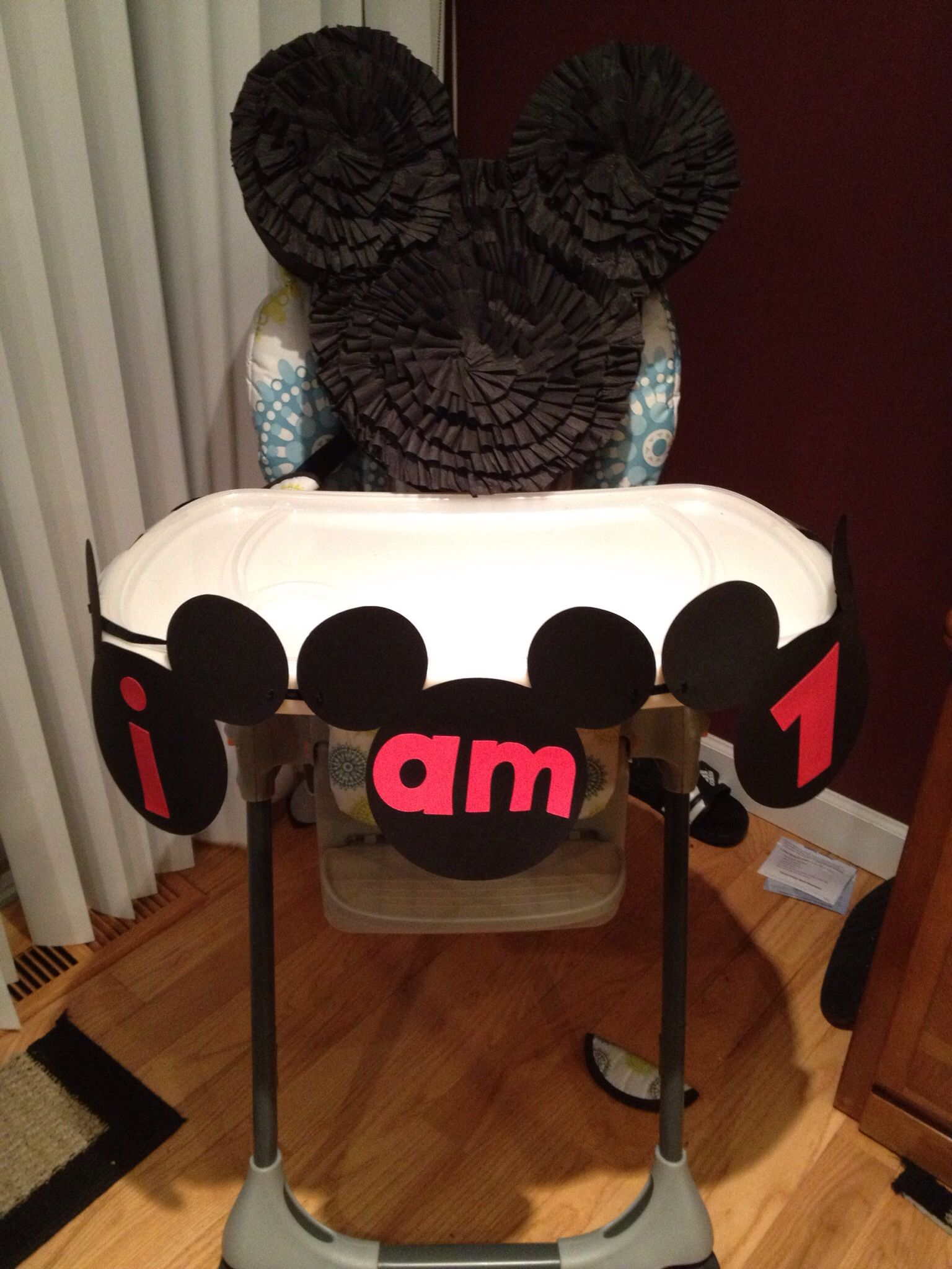 mickey mouse high chair decorations how to clean plastic chairs and tables banner for the twin 39s 1st birthday