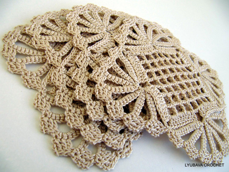 Pdf crochet pattern vintage doily look coaster ecru - Crochet mural vintage ...