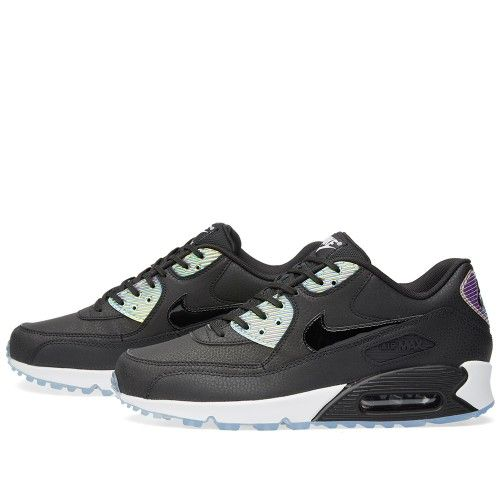 nike air max 90 premium trainers in holographic black