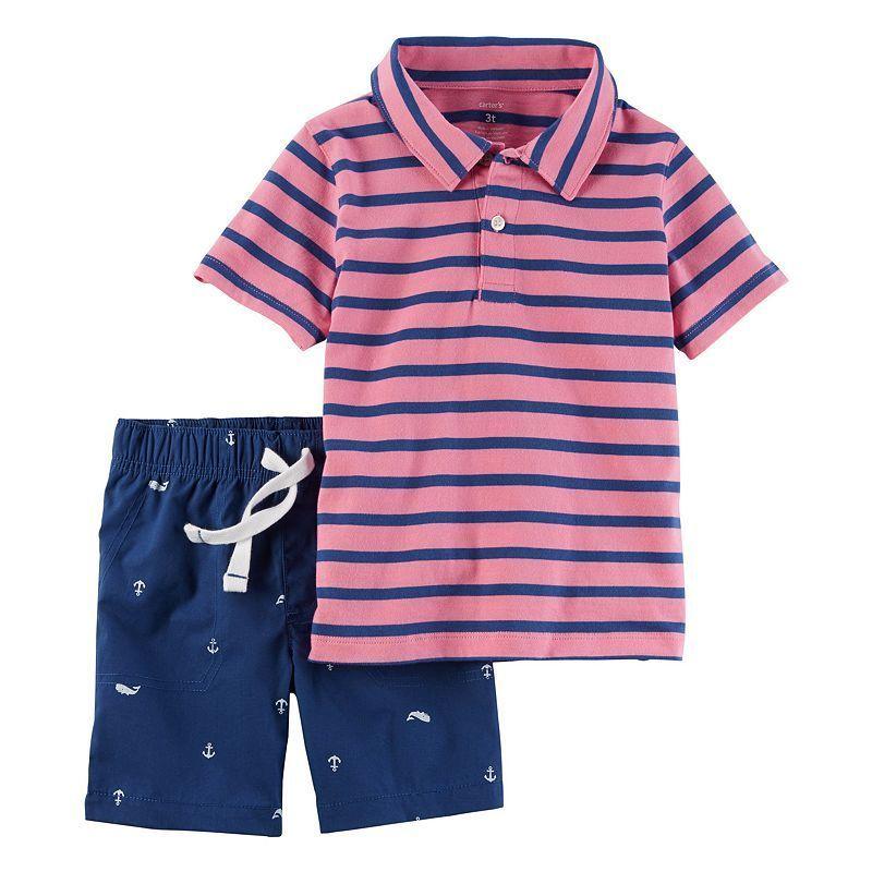 5fa668c6 Toddler Boy Carter's Short Sleeve Striped Polo Shirt & Poplin Shorts Set,  Size: 4T, Ovrfl Oth