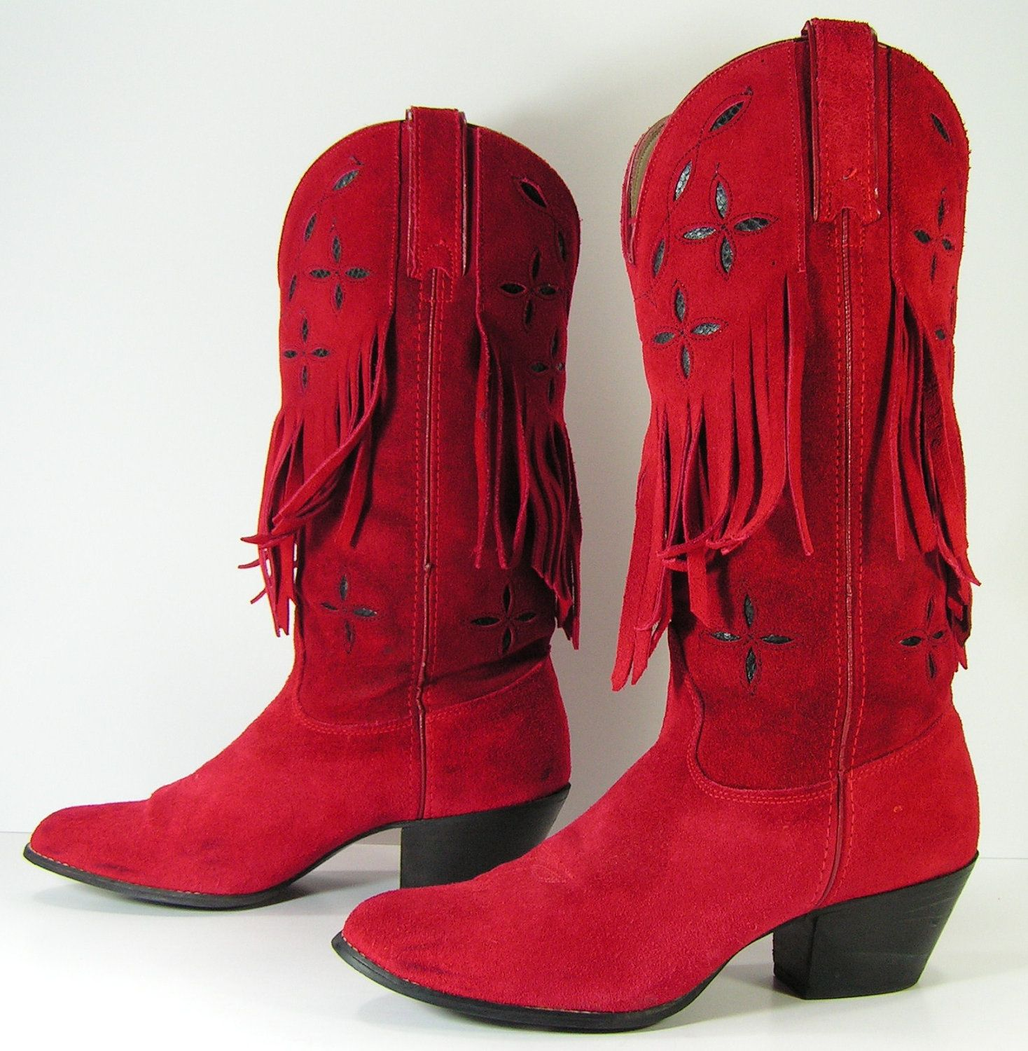 red cowboy boots womens 8 B tassels suede leather fringe western ...