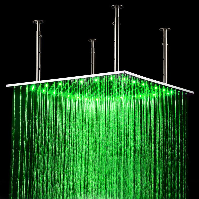 Modern 24 Inch Led Ceiling Mount Rain Shower Head Stainless Steel Free Shipping Led Color Changing Lights Rain Shower Head Rain Shower