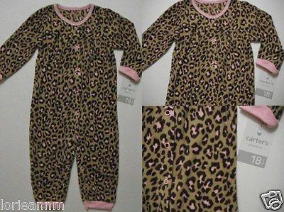 New Carters Suit Infant/Toddler Girls FOOTLESS Fleece CHEETAH JUMPSUIT 18M PJ's $14.38