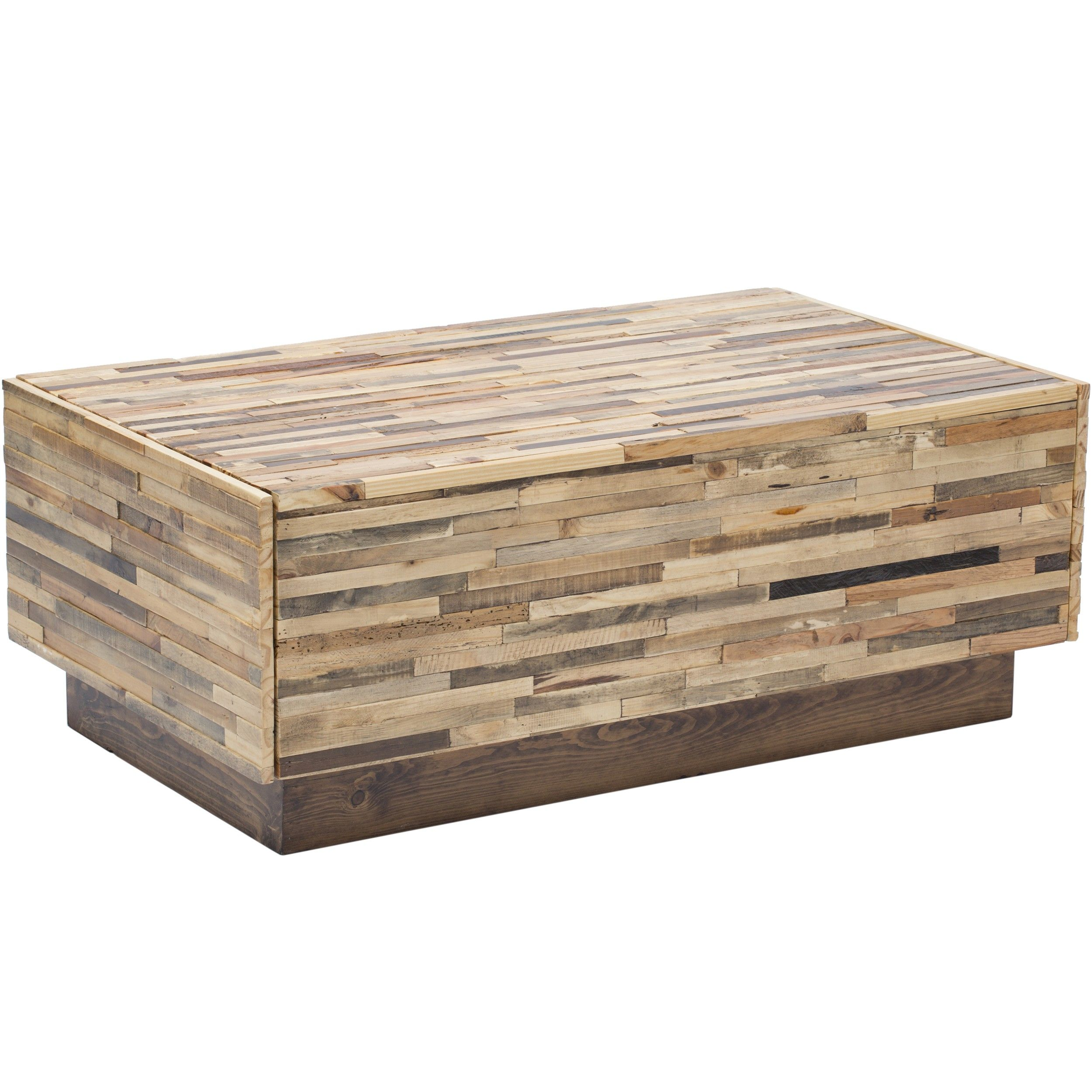Rustic Pine Wood Coffee Table: Caledonia Reclaimed Pine Wood 2 Drawer Coffee Table