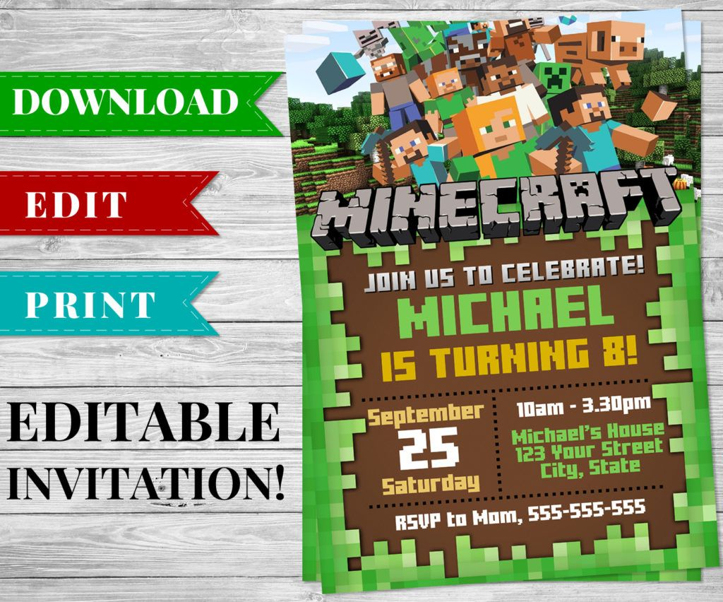 Printable DIY 3D Minecraft Swords - Minecraft Birthday Party Supplies