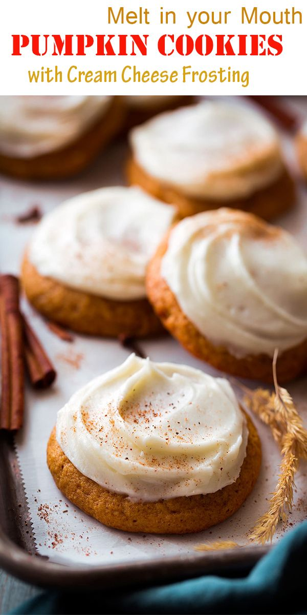 Melt in your Mouth Pumpkin Cookies with Cream Cheese Frosting Recipe images