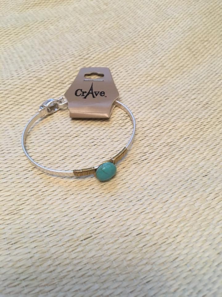 Silvertone bangle wrapped in gold wire w/Turquoise bead | Products ...