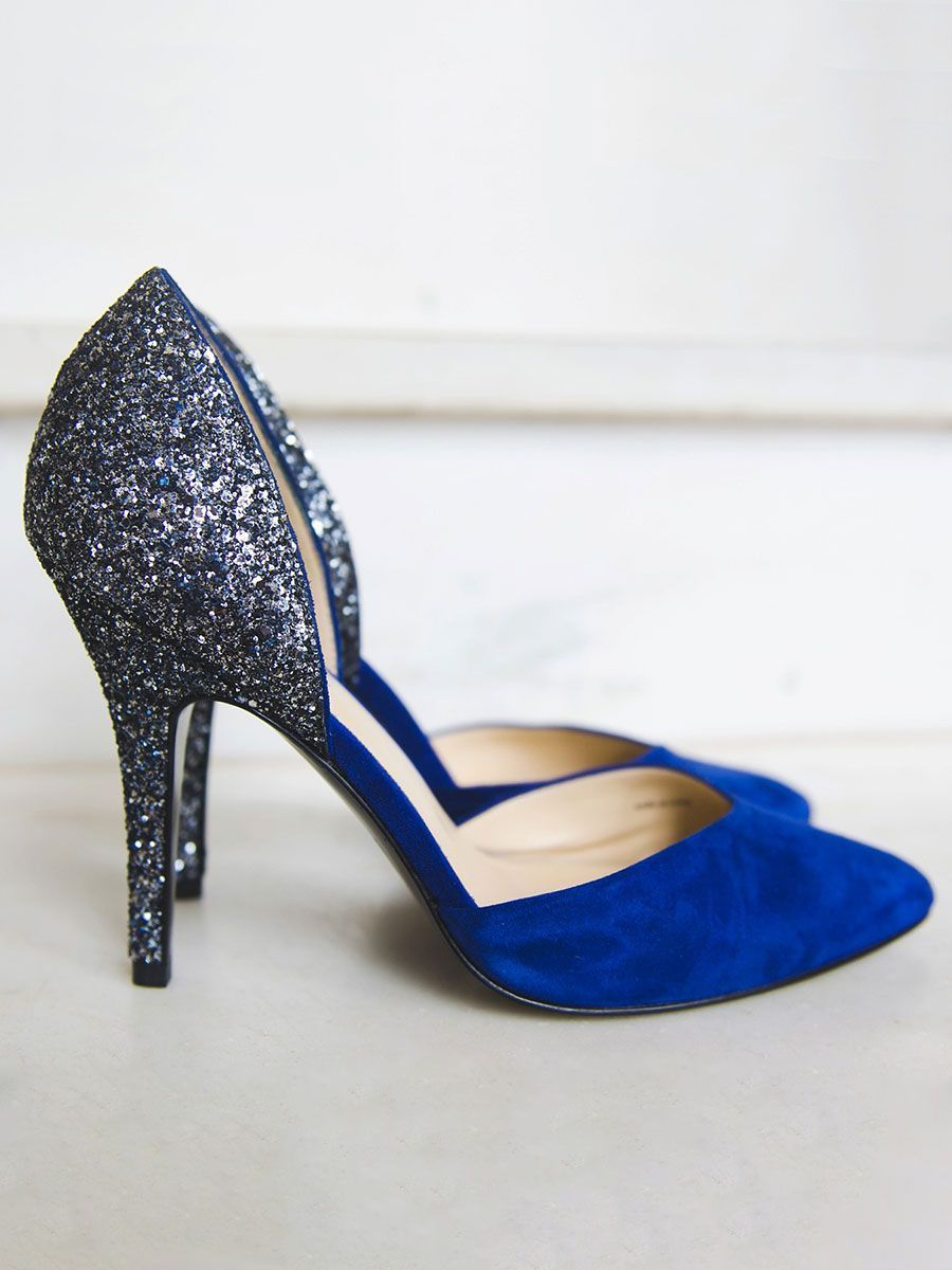 Sparkly blue suede heels might be the ucsomething blueud youuve been