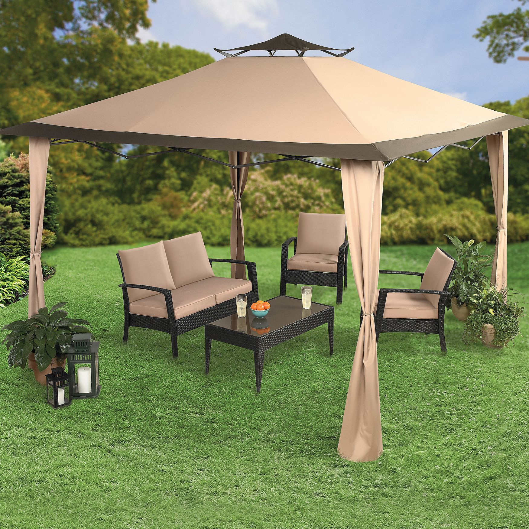 Oversized 10' Sq Instant Pop Gazebo Patio Furniture