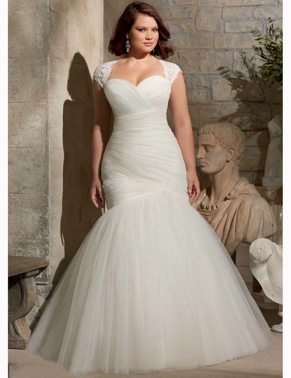 Big Mermaid Wedding Dresses with Tulle