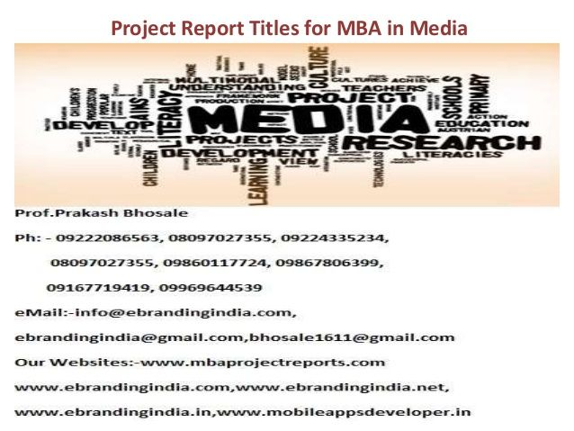 project report titles for mba in media Others Pinterest