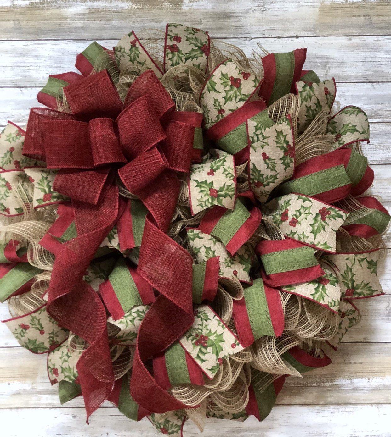 Farmhouse Christmas Wreath Country Christmas Etsy in