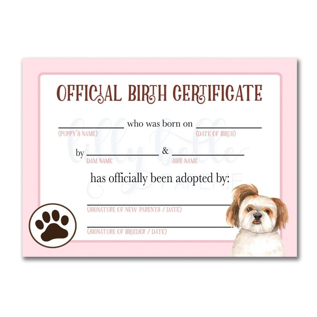 This is a picture of Printable Puppy Birth Certificate intended for graduation