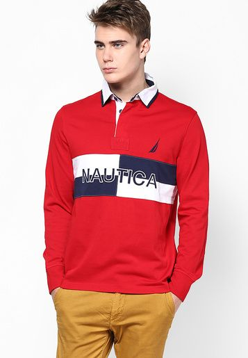 Nautica Red Printed Polo T-Shirt - Men Polos & Tees